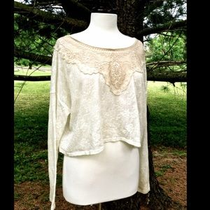 Free People ivory lace longsleeve Delicate Top M/L